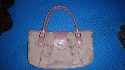 ~保證真品 Anna Sui 粉紫色單寧布和真皮款水餃包 手提包 肩背包~便宜起標無底價標多少賣多少
