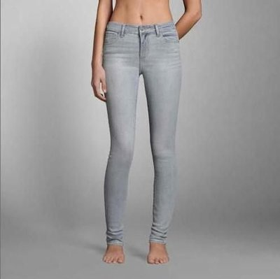 Abercrombie High Rise Super Skinny Jeans 0號亮晶銀刷色彈性超顯瘦牛仔褲在台