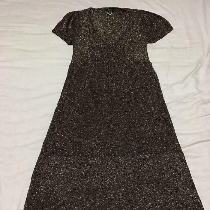 二手Mango金蔥針織短洋裝 MNG短袖V領洋