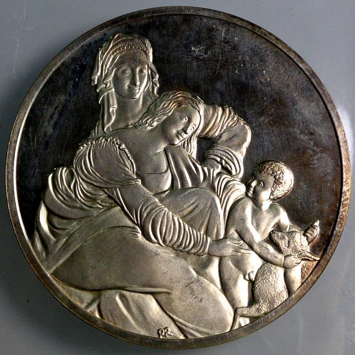 法國 1975年 名畫 紀念銀章 聖母子與聖安妮