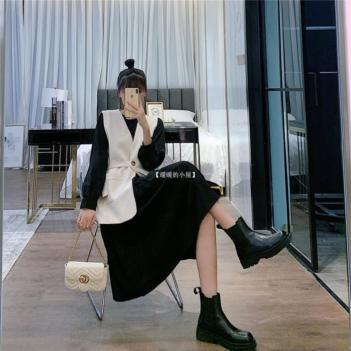 【暖暖的小屋】 RPIN2020早秋正韓女神范百搭套裝女西裝馬甲+長袖連衣裙兩件套潮