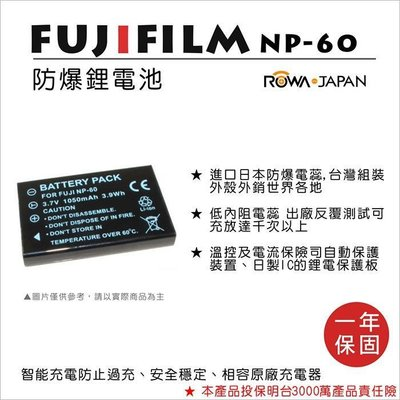 趴兔@樂華 FOR Fuji NP-60 相機電池 鋰電池 防爆 原廠充電器可充 保固一年
