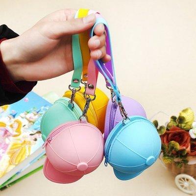 糖果色矽膠棒球帽零錢包 帽子造型包-艾...