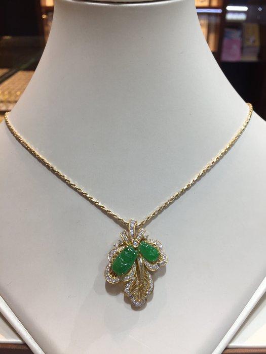 天然A貨冰種翡翠鑽石墜飾,獨特風格設計,兩用款式別針墜子,香港師傅手工製作,超值價38800