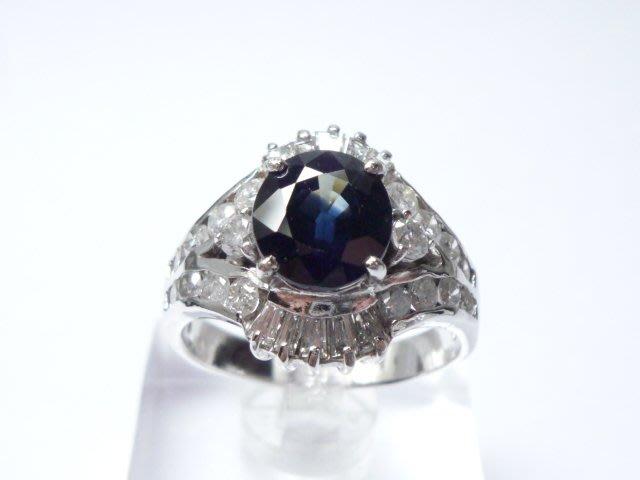 【連漢精品交流中心】《天然藍寶石 2.29CT 》白K金設計款豪華臺~藍寶石鑽戒 (女戒)~