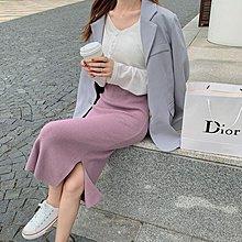 多變化膚中高腰顯瘦 好質量 保暖 百搭側開叉包臀針織長裙 艾爾莎【TAE8547】
