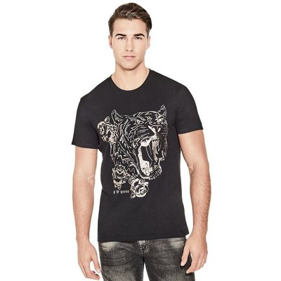 美國百分百【全新真品】Guess T恤 T-shirt 短袖 短T logo 上衣 燙金 虎頭 黑色 L號 I561