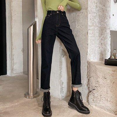 褲子女2020春季新款韓版顯瘦寬松高腰牛仔褲學生百搭休閑直筒長褲