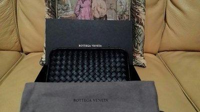 全新真品  Bottega Veneta   黑色羊皮  拉鏈長夾