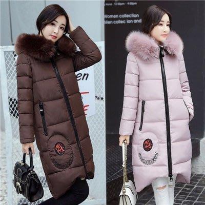 羽絨外套 連帽夾克-長款純色毛領保暖女外套6色73pa20[獨家進口][米蘭精品]