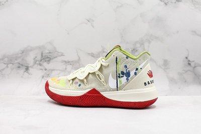 NIKE Kyrie 5 EP 米黃紅 涂鴉 刺繡 潮流 中筒 籃球鞋 CK5837-100 男鞋