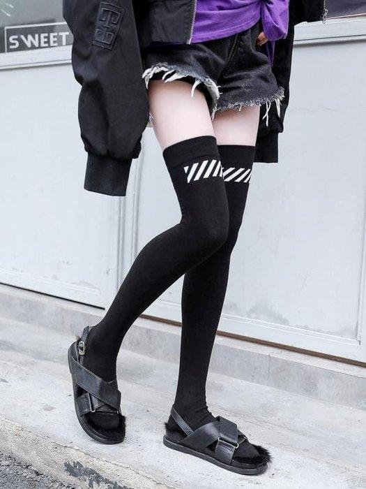 長筒襪 高筒襪女生韓國學院風潮流過膝襪秋冬日繫條紋純棉大腿襪長筒襪子
