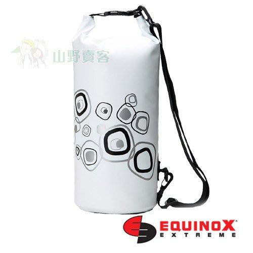【山野賣客】EQUINOX 全天候多功能防水包 10公升幾何 白色 防水袋 背包 收納袋 登山露營溯溪 111802
