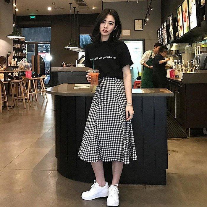 夏季時尚女裝格子半身裙套裝女韓版寬松兩件套裙子#優品小鋪#