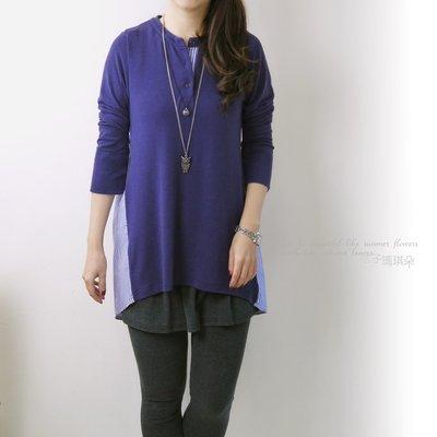 正韓 韓國連線 素面棉混毛料T拼接直條紋襯衫 假兩件長版 ~桔子瑪琪朵