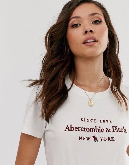 A&F 麋鹿 Abercrombie & Fitch 現貨 短T 女生 米色