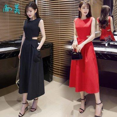 洋裝夏季新款女裝時尚性感露腰修身顯瘦收腰連衣裙氣質小禮服長裙