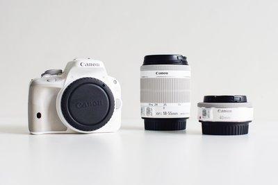 Canon EOS 100d 白色|18-55mm Kit鏡+EF 40mm f/2.8 STM 餅乾鏡|雙電池|二手