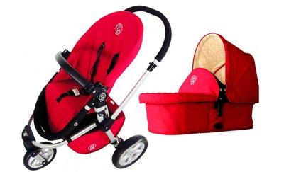 【台灣製造】CLASSIC多功能 三輪 歐式嬰兒車 全配 - 鮮豔紅