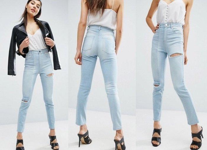 ◎美國代買◎ASOS大腿與膝刷破淺藍刷色復古高腰淺藍刷破牛仔褲~大尺碼~歐美街風