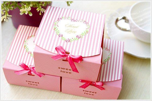 幸福朵朵【粉色直條紋玫瑰Sweet Love DIY包裝盒(禮物盒)】烘焙包裝材料資材.餅乾盒.糖果盒.禮物盒.婚禮小物