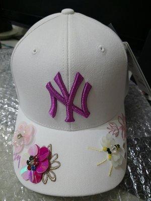 洋基 MLB棒球帽 彎沿立體花朵 NY棒球帽