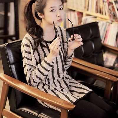 直條紋 歐美時尚直條紋QQ毛下擺圓弧上衣-共三色【U274】☆雙兒網☆甜蜜冬氛