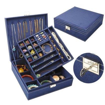 首飾盒 首飾盒雙層絨布歐式木質韓國公主家居帶鎖裝飾品化妝女收納盒大   全館免運
