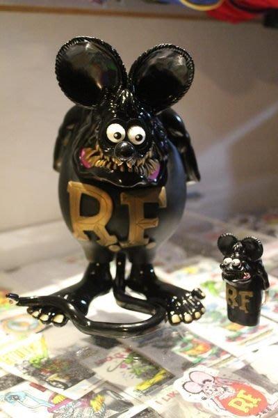 (I LOVE樂多)(稀少收藏逸品)RAT FINK RF黑金老鼠芬克公仔(全球限量500隻)BLACK x GOLD FINK(Limited500)