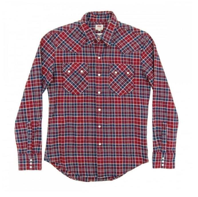【現貨L號優惠】美國Levis Sawtooth Western Shirt 法蘭絨 藍白紅格紋珍珠釦西部長袖牛仔襯衫