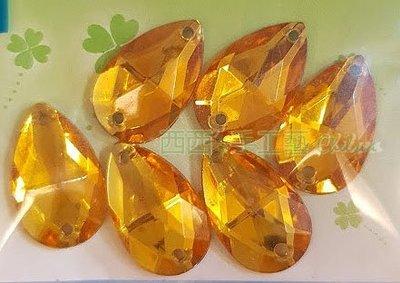 西西s手工藝材料 29725 水鑽-二洞水滴(6入) 飾品配件 文創設計 兒童DIY 水鑽貼飾 滿額免運