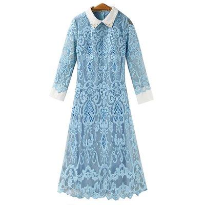 粉藍色刺繡圖案珍珠領連身裙 短裙