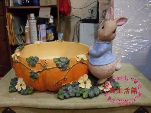美生活館--- 全新比得兔南瓜造型花盆/置物盒/糖果餅乾盒/水果盤 (大型)