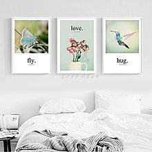 ins北歐現代風景飛鳥花卉蝴蝶裝飾畫畫芯客廳餐廳掛畫無框畫心布(不含框)