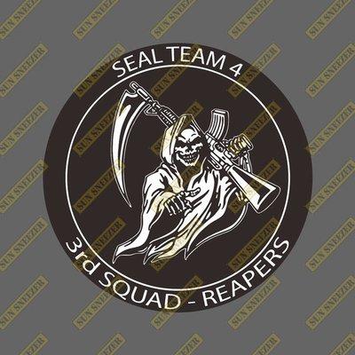 美國海軍 海豹部隊 第四中隊 第三小隊 收割者 死神 圓形徽章 3M防曬防水貼紙 尺寸88mm