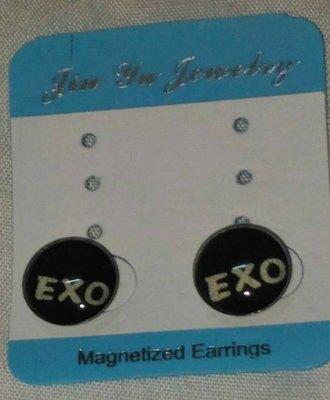 {C.A.O.小舖} 飾品系列- EXO 潮流圓形磁鐵耳環 流行時尚耳飾 造型耳環(磁鐵款一對價)