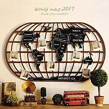 工業風裝飾畫複古世界地圖鐵藝牆面掛飾網咖餐廳背景牆裝飾品掛件(2色可選)