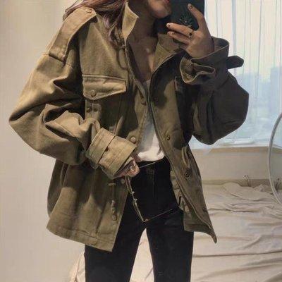 2018秋季新款韓國chic復古百搭工裝寬鬆休閒口袋風衣外套女