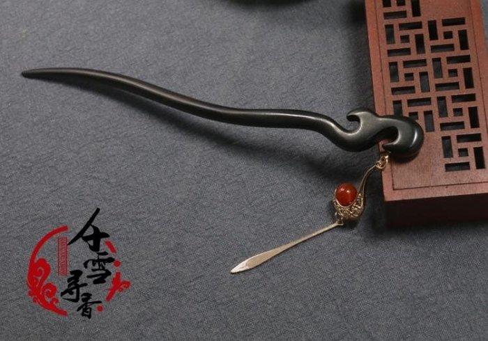 半島鐵盒 母親節禮物 髮簪 中國風復古黑檀木步搖流蘇發簪代木簪子