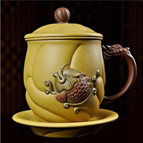 5Cgo【茗道】含稅會員有優惠 42755785242 龍德堂魚化龍紫砂杯茶具帶過濾內膽喝茶杯子泡茶杯功夫茶杯辦公杯