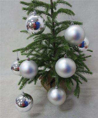 外貿出口8CM銀色亮亞聖誕球   舞臺櫥窗球  聖誕樹掛件單個出售