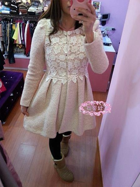 °☆~衣著紡~☆°韓㊣  104880粉色蕾絲毛呢大衣外套