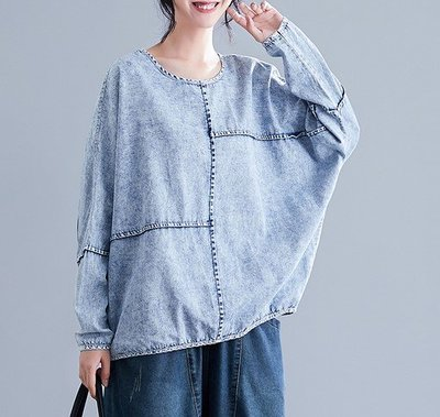 【An Ju Shop】原創設計文藝範 秋款 大碼牛仔長袖女蝙蝠上衣~CI034707