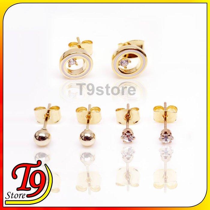 【T9store】韓國製 圓形單鑽組合耳環