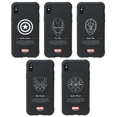 MARVEL 素黑線條 強化防摔軟殼 手機殼│iPhone 7 8 Plus X XS MAX XR│z8999