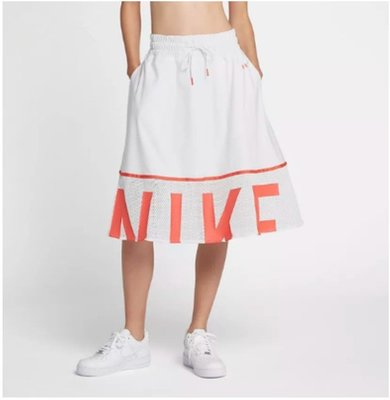 耐吉Nike sportswear 及膝裙 893662 黑色 白色 鬆緊 抽繩 長裙 圓裙 女生過膝半身裙/澤米