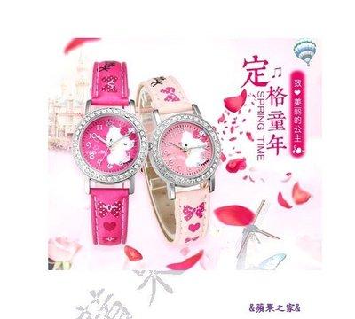 &蘋果之家&現貨-正版-日本-萌寵Hello Kitty施華諾世奇水鑽錶-粉紅色/玫瑰紅-附精美kitty禮盒包裝