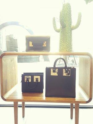 [RainDaniel] SOPHIE HULME 英國時尚品牌 Albion 經典金屬方塊 黑皮革 手提/肩背包