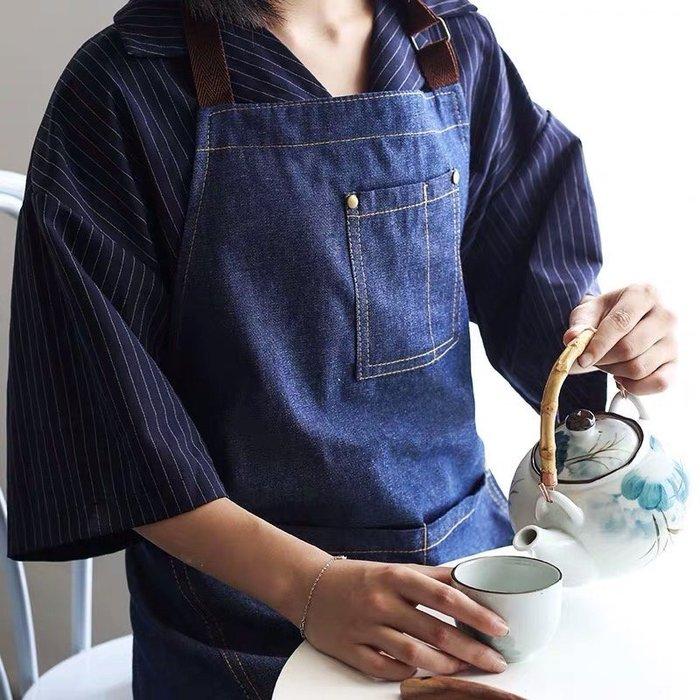 Amy烘焙網:男女通用透氣純棉牛仔圍裙/廚房烘焙美甲師/工作室/咖啡奶茶工作圍裙