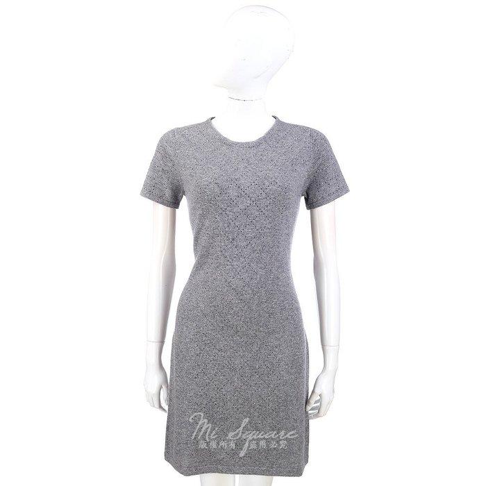 米蘭廣場 ALLUDE 灰色菱格紋鑽飾短袖洋裝 1340321-06